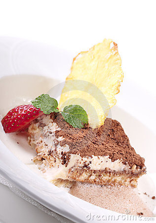 Creamy vanilla cake decorated