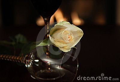 Creamy white rose with wine glass