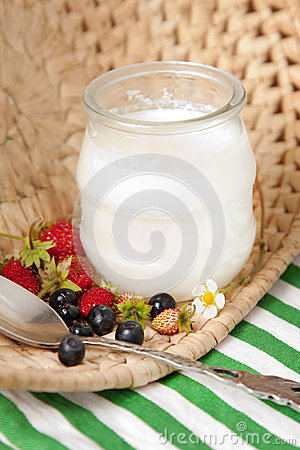 Creamy yoghurt in glass jar