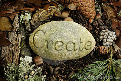 Create etched on a stone on the forest floor