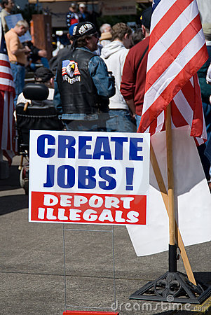 Create jobs sign at Tea Party. Editorial Stock Photo