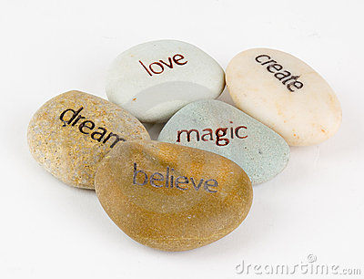 Create, magic, believe, dream, and love stones