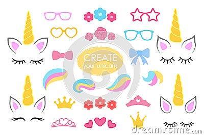 Create your own unicorn - big vector collection. Unicorn constructor. Cute unicorn face. Unicorn details - Horhs, eyelashes, ears, Vector Illustration