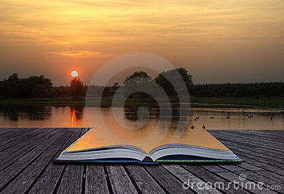Creatie concept image of sunset and lake in pages
