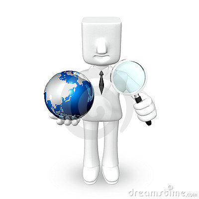 Creative 3d business man globe