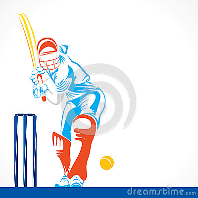 Free Creative Abstract Cricket Player Design By Brush Stroke Stock Photos - 48726573