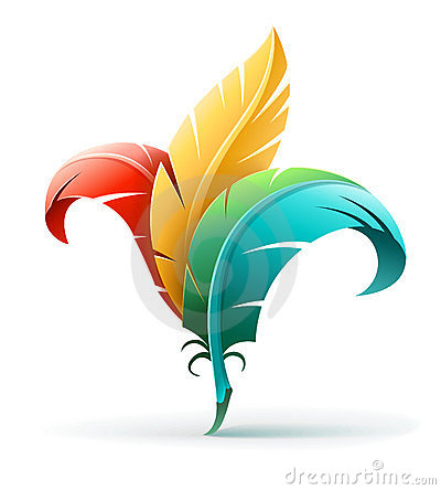 Creative art concept with color feathers