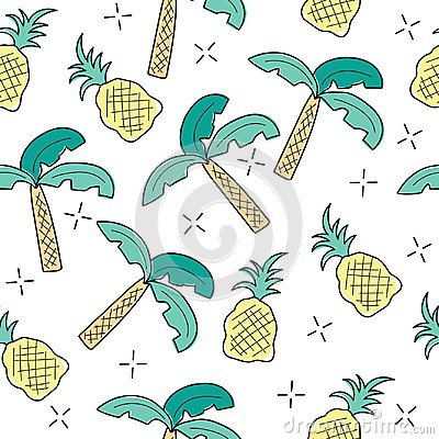 Free Creative Art Seamless Endless Repeating Pattern Texture With Tropical Elements Royalty Free Stock Images - 118003289