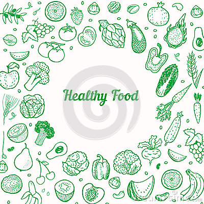 Free Creative Background With Hand Drawn Fruits And Vegetables. Royalty Free Stock Image - 47744606
