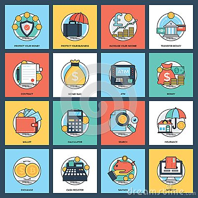 Free Creative Banking And Finance Icon Set Royalty Free Stock Image - 121136716
