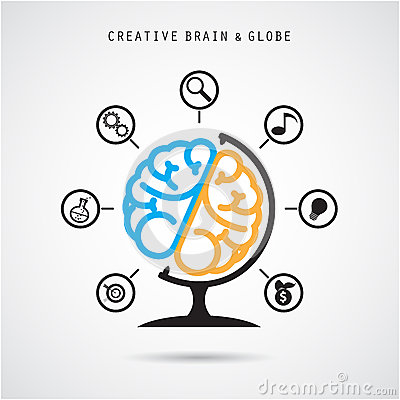 Creative Brain Abstract Vector Logo Design And ...