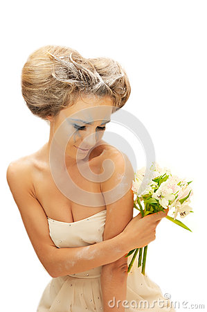 Creative bride woman