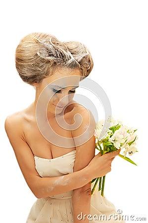 Creative bride woman