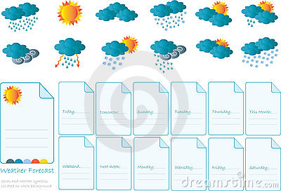 Creative card with all meteorology symbols
