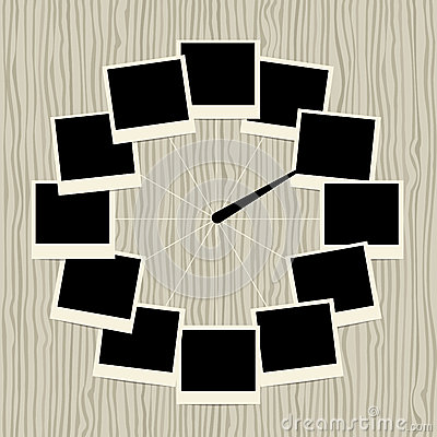 Creative clock design with photo frames