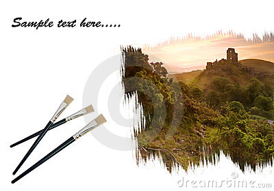 Creative concept image of paint brushes painting