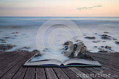 Creative concept pages of book Long exposure landscape rocky sho