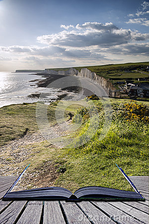 Free Creative Concept Pages Of Book Seven Sisters From Birling Gap Su Royalty Free Stock Photos - 33351158