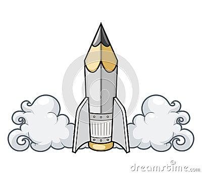 Creative concept pencil as rocket