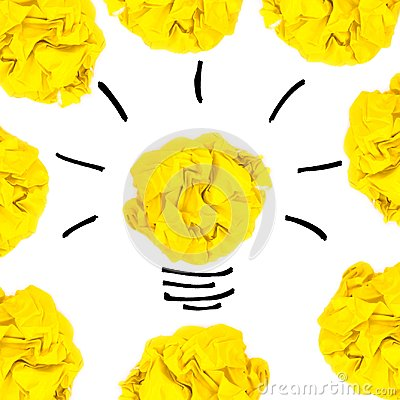 Free Creative Concept. Yellow Light Bulb Made Of Yellow Crumpled, Pap Royalty Free Stock Photography - 99915997