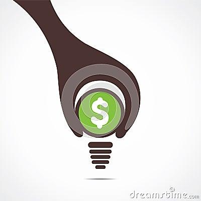 Creative design of dollar bulb, hand hold a coin a