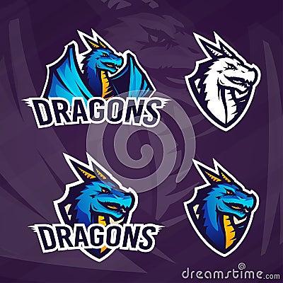 Free Creative Dragon Logo Template. Sport Mascot Design. College League Insignia, Asian Beast Sign, School Team Vector Stock Images - 76923154