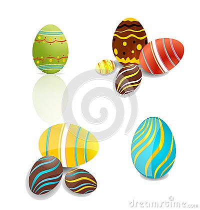 Creative elegance eggs set vector isolated