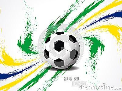 Creative elegant football background with Brazil colors grunge splash.