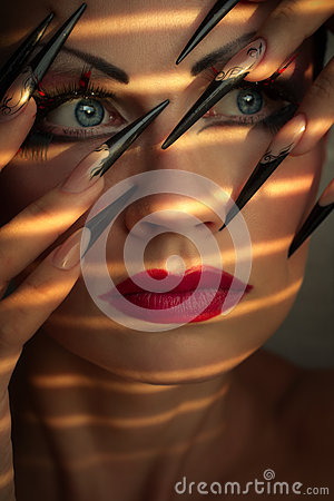 Creative fashion makeup and manicure