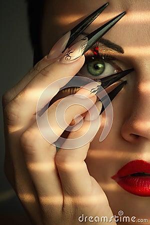Creative fashion makeup and manicure