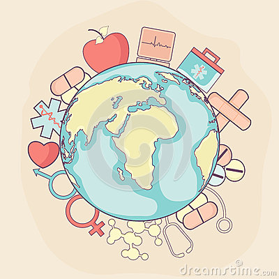 Free Creative Globe With Medical Elements For Healthy Life Concept. Royalty Free Stock Photography - 52546287