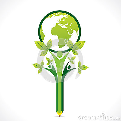 Creative go green or save earth support by people or children concept Vector Illustration