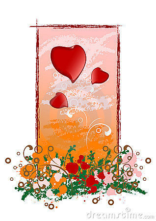 Creative grunge Valentine greeting card with heart, vector illus