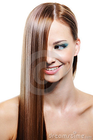 Creative hairstyle with smooth long female hair