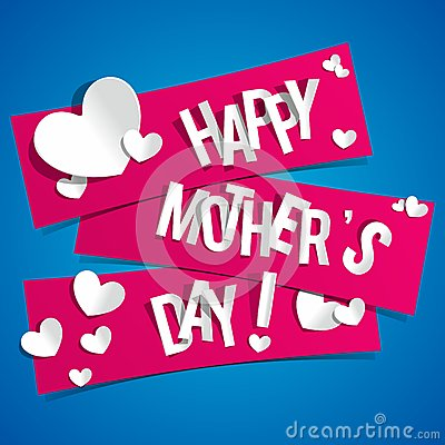 Free Creative Happy Mothers Day Card With Hearts On Rib Stock Photos - 34992953