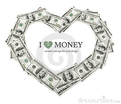 Creative heart frame made of dollars money