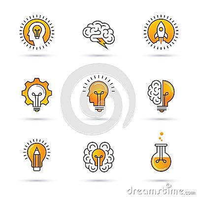 Free Creative Idea Logo Set With Human Head, Brain, Light Bulb. Royalty Free Stock Image - 95146076