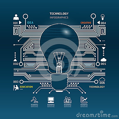 Free Creative Light Bulb Abstract Circuit Technology Infographic.vect Stock Photography - 37488082