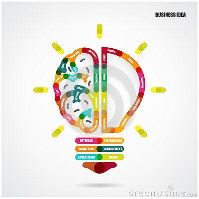 Creative light bulb concept with business idea background