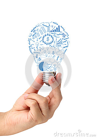 Free Creative Light Bulb In Hand With Drawing Business Strategy Plan Royalty Free Stock Images - 31952109