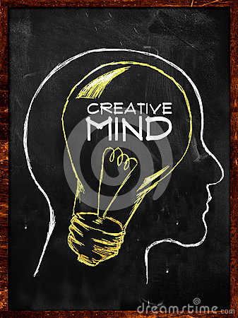 Creative Mind sketch on blackboard