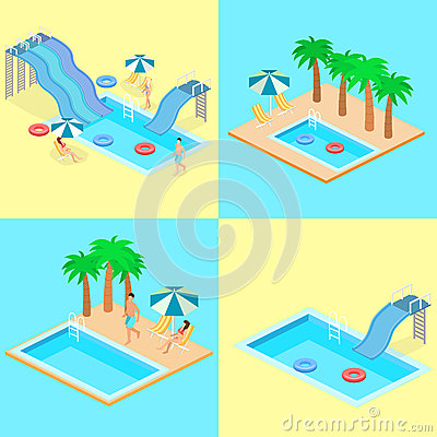 Creative modern isometric design of swimming pool stock for Pool design graphic