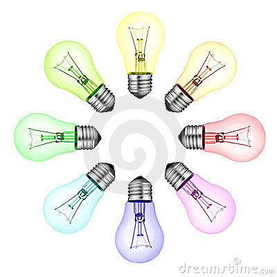 Free Creative New Ideas - Circle Of Colored Lightbulbs Royalty Free Stock Photography - 18282887