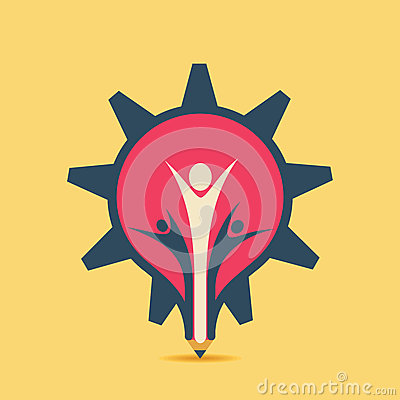 Free Creative Pencil Design In Gear Style With Support People Or Celebrate Design Concept Stock Image - 43985711