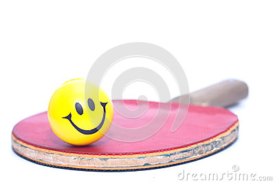 Rackets of table tennis with yellow fun emoticon ball