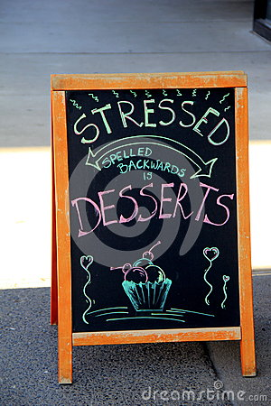 Free Creative Restaurant Sign, Inviting People In For Dessert Stock Photography - 52780432