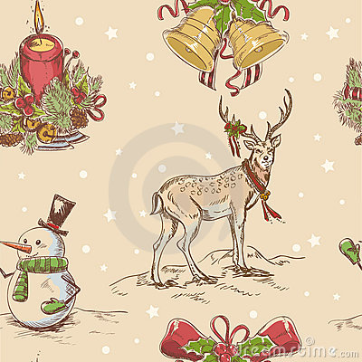 Creative seamless Christmas hand drawn texture