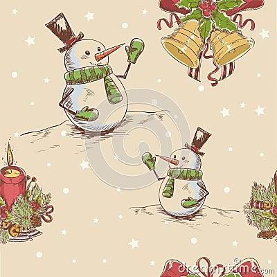 Creative seamless Christmas hand drawn texture