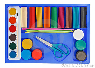 Creative set of aquarelle paint box, plasticine