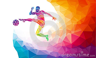 Creative silhouette of soccer player. Football player kicks the ball in trendy abstract colorful polygon style with rainbow back Vector Illustration